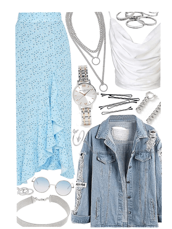 OUTFIT INSPIRATION: Sky Blue and a Silver Lining