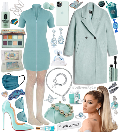 if i styled: ariana grande - monochrome tiff blue