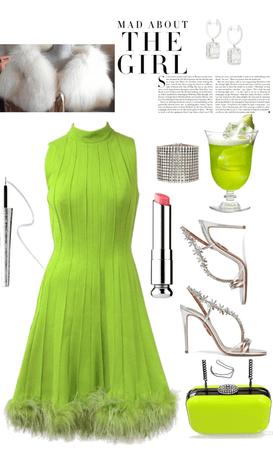 Acid Green Cocktail Dress