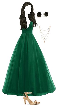 green poofy prom dress
