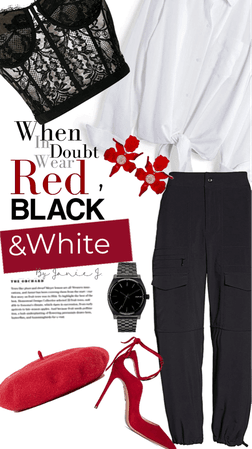 red, black and white