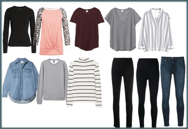 winter capsule wardrobe - tops and pants