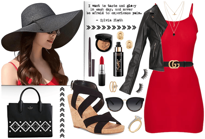 A Black Straw Hat and a Red Dress