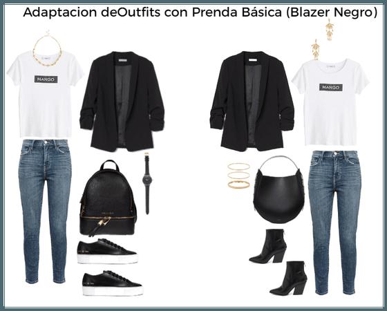 Prenda Básica (blazer negro) Adaptación de outfit