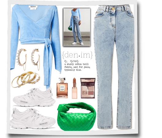 blue top and jeans  for denim day.