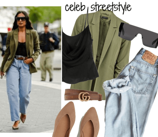 celeb street style: green blazer