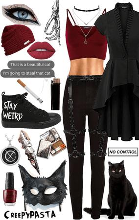 creepypasta: OC black cat outfit 2