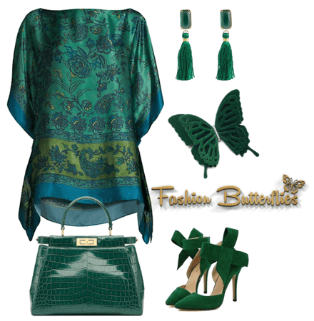 Emerald Green Queen with Fashion Butterfly