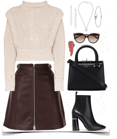 cozy Pullover with brown leather skirt look