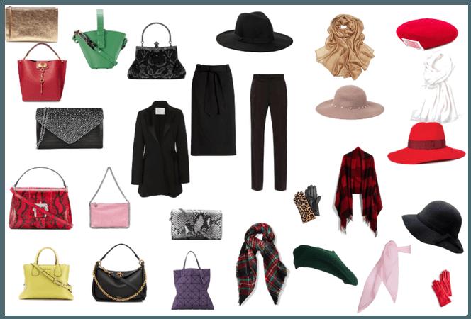 Czarne spodnie, spódnica + torby, kapelusze, szale
