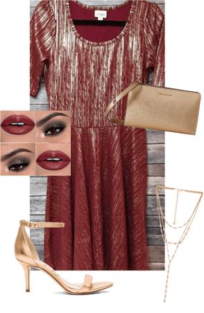 LuLaRoe Elegant Garnet and Gold Nicole Dress