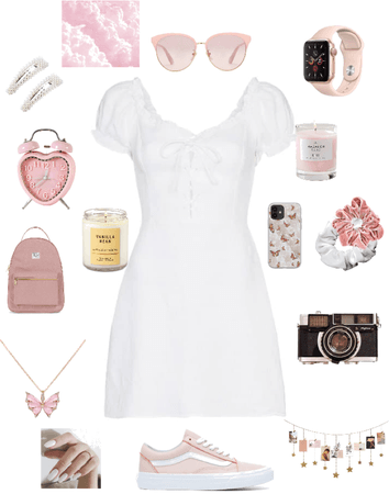 aesthetic pink and white sundress outfit