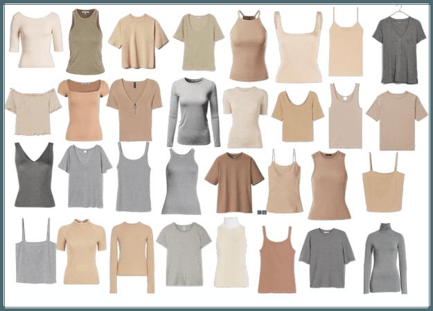 Basics - grey and natural t-shirts