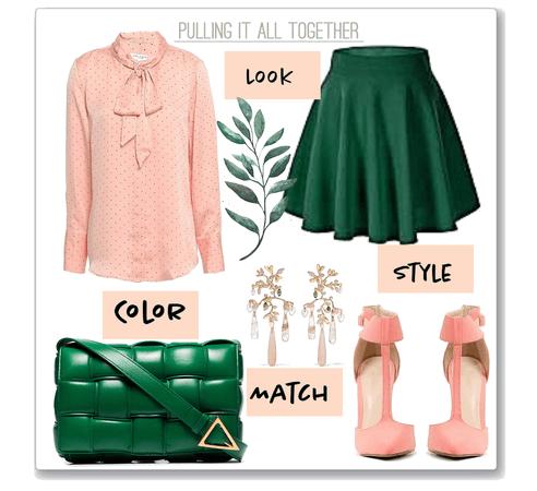 pine green + pink peach.