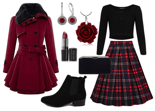 Red and Black Winter Coat Outfit