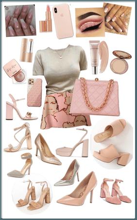 Beige, pink, gold