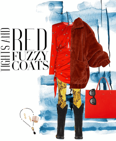 tights and red fuzzy coats