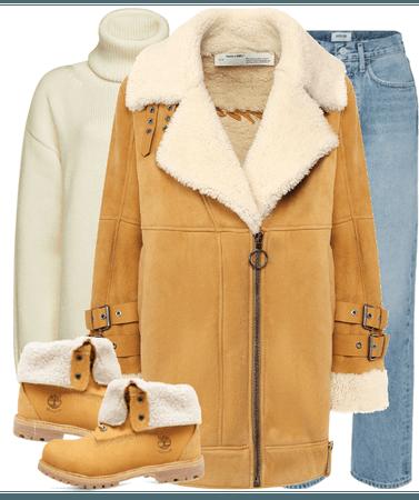 new OFF-WHITE  sheepskin coat