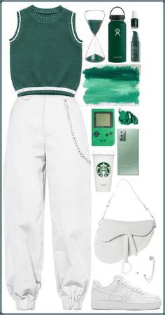 Green sweater vest + white