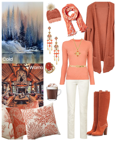 Even in the cold, the color coral makes you warm