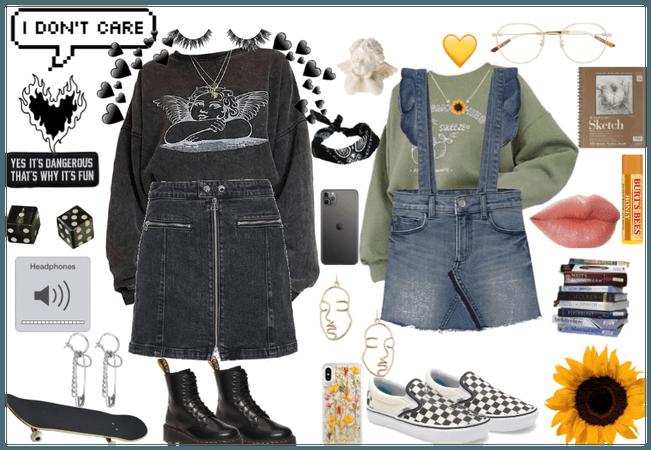 grunge girl and artsy girl mono