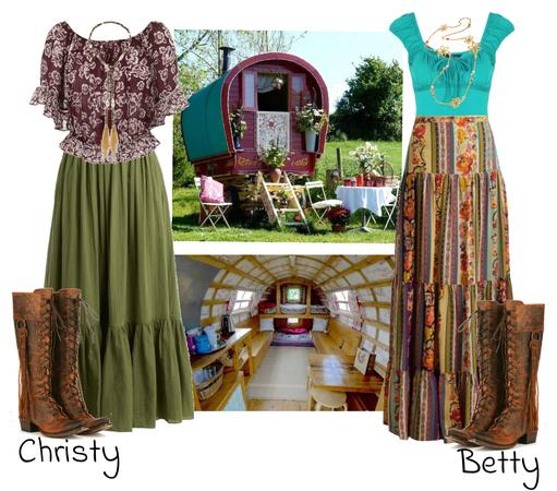 Betty and Christy as Caravan Gypsies