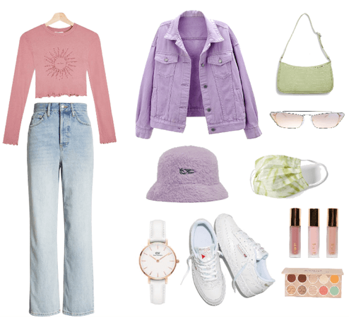 pinky lilac greeny outfit