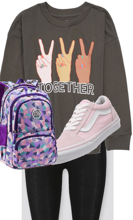 BACK TO SCHOOL Together shirt with purple back pack and pink and white vans
