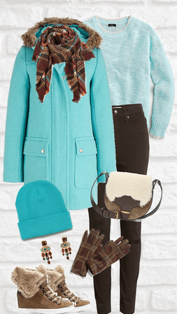 Staying Warm in Turquoise and Brown