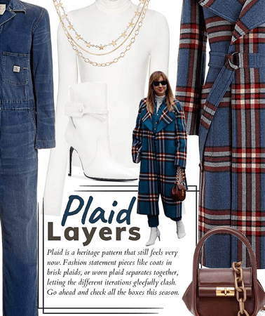 Denim & plaid layers