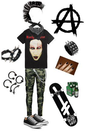 Punk rock skater outfit