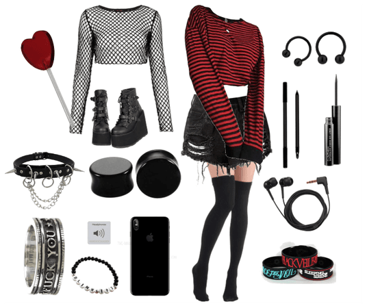 Red and Black Emo/Alternative/Scene kid outfit