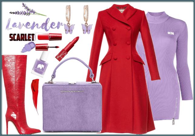 Scarlet and lavender