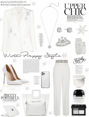 "Winter preppy style.  ""Snowflakes"""