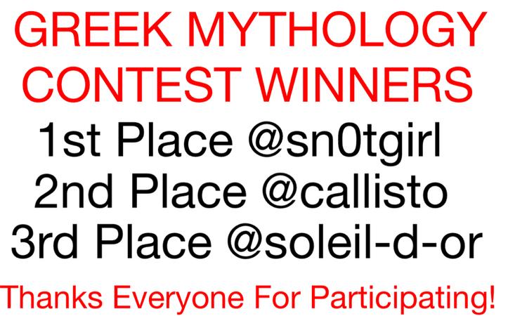 GREEK MYTHOLOGY CONTEST WINNERS