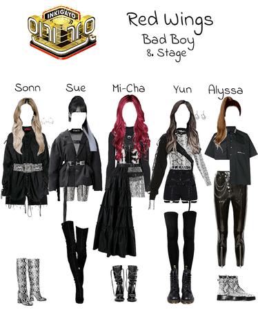 """Red Wings """"Bad Boy"""" 8. stage look at Inkıgayo."""