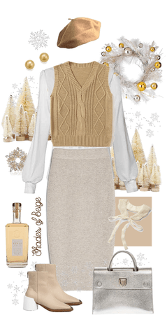 Silver and Beige Sweater Vest Style!