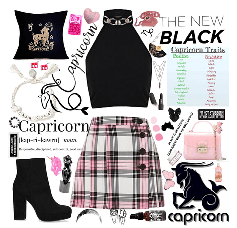 Capricorns are known for being gothic etc, however, I feel like I am the mixture of both girly and goth. kinda laid back, comfy girly& tomboy style.