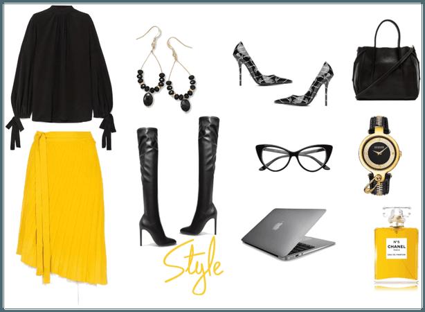 Yellow Skirt N' Shirt Werking It