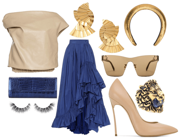 Beige, blue and gold