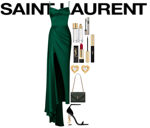 green and black saint Laurent outfit