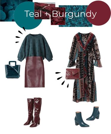 Teal + Burgundy