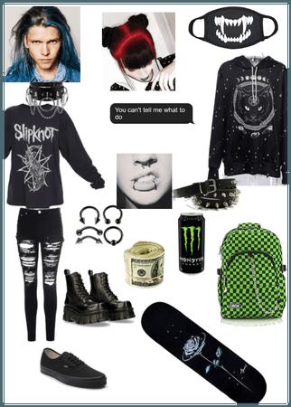 Emo gothic skater teen