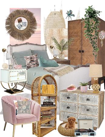 Beach Pink Blue Pastel Bedroom