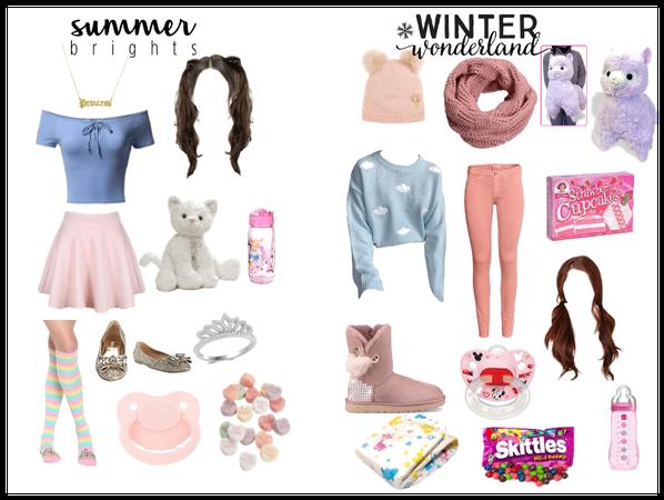 Little Girl Summer and Winter