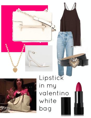 lipstick in my Valentino white bag