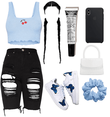 cute cherry 🍒 baby blue crop top outfit
