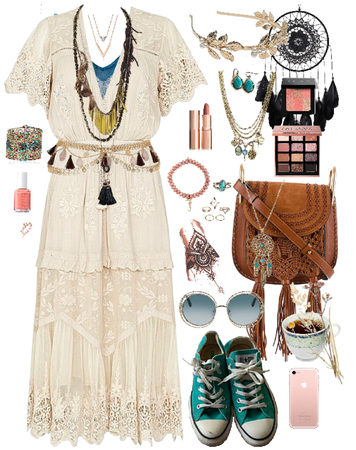 Boho Blush Pink Teal Blue Cream