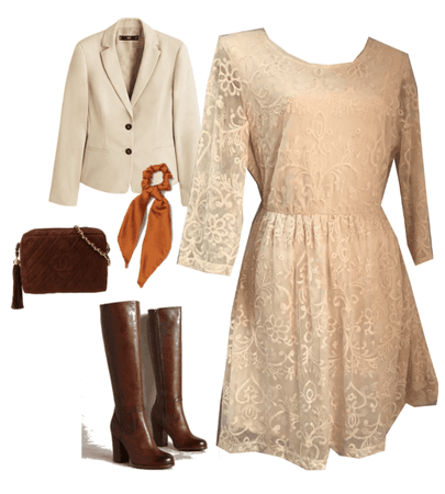 IVORY LACE DRESS OUTFIT FALL