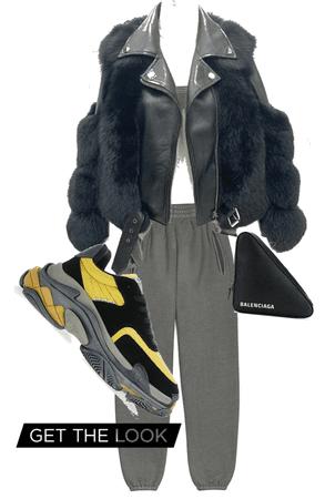 fur coat balenciaga sneakers